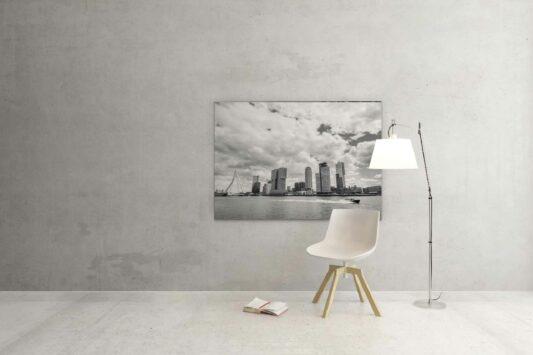Rotterdam Foto - Watertaxi langs de kop - Zwart Wit Foto 010