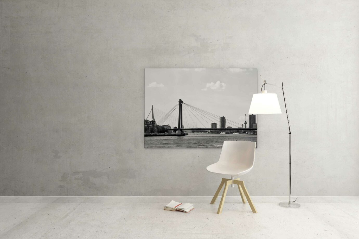 Beste zwart wit foto skyline rotterdam ©ZwartZwit010. Willemsbrug en Erasmusbrug