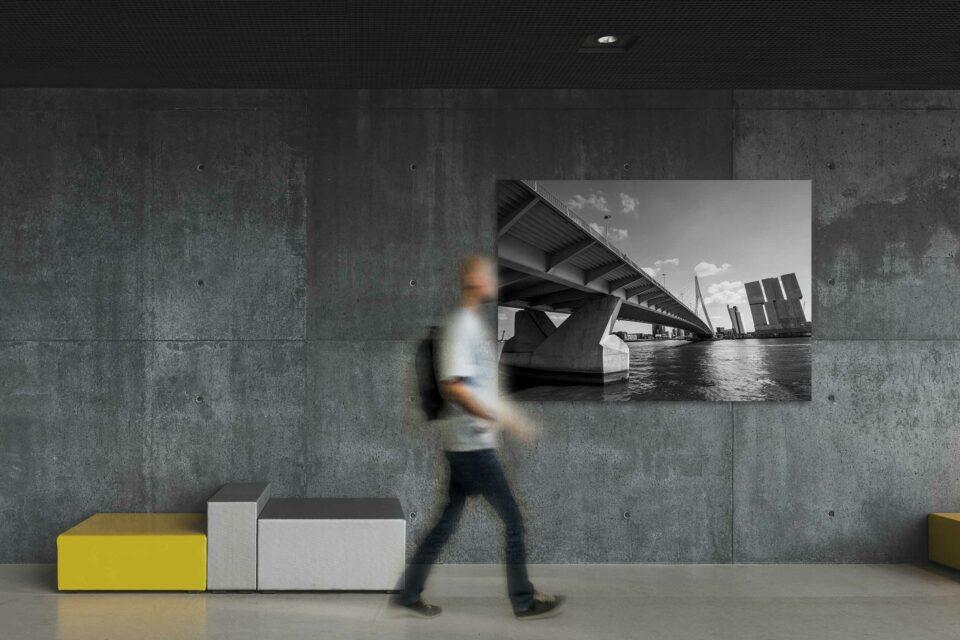 Rotterdam zwart wit foto van ©ZwartZwit010. Erasmusbrug en De Rotterdam