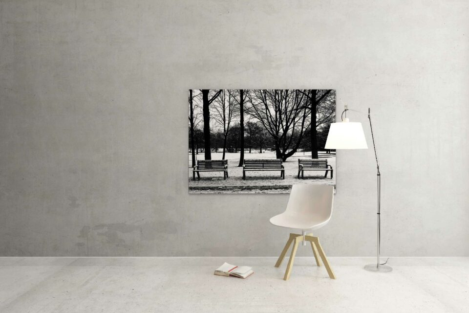 Rotterdam zwart wit foto van ©ZwartWit010. Euromastpark Sneeuw