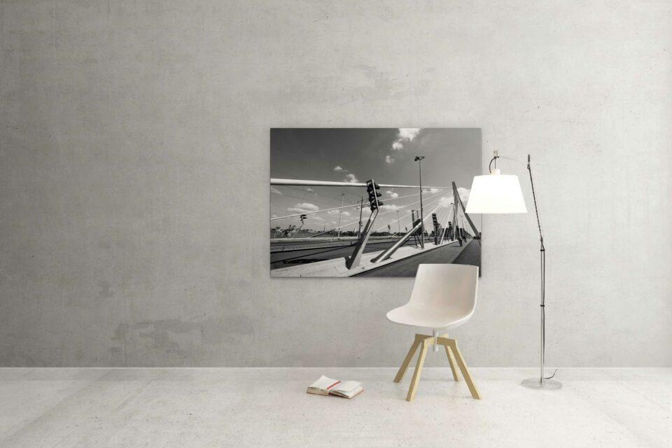 Rotterdam zwart wit foto van ©ZwartWit010. Erasmusbrug de Zwaan
