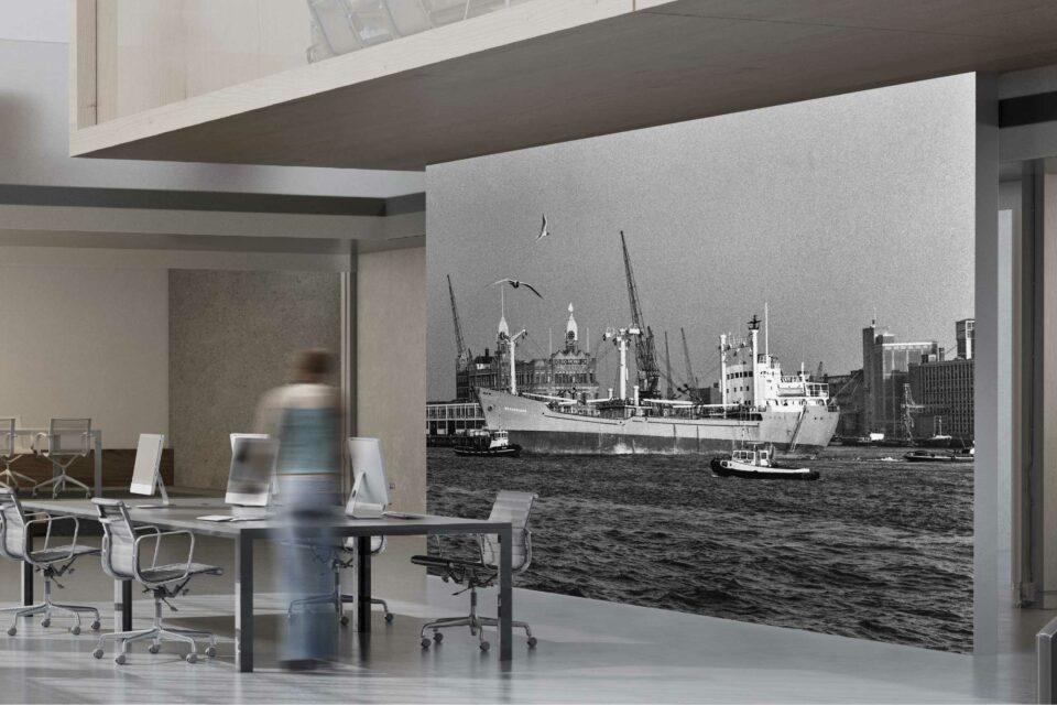 Rotterdam zwart wit foto van ©ZwartWit010. Schip Hotel New York