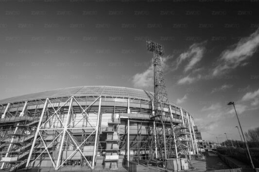 Rotterdam zwart wit foto van ©ZwartWit010. Stadion Feyenoord De Kuip